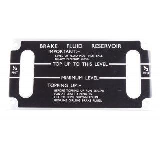 Brake fluid level label