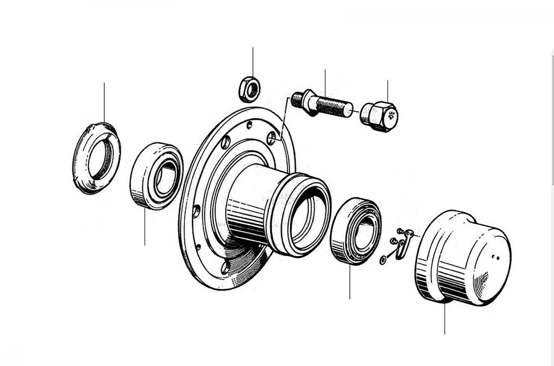 21104 Hub & Bearings - Front Hub & Wheels