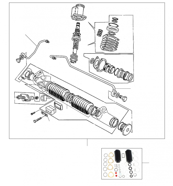 43036 Steering rack 24997 onwards (Oval Mounting Feet) - VIN 24997 onwards (Oval Mounting Feet)