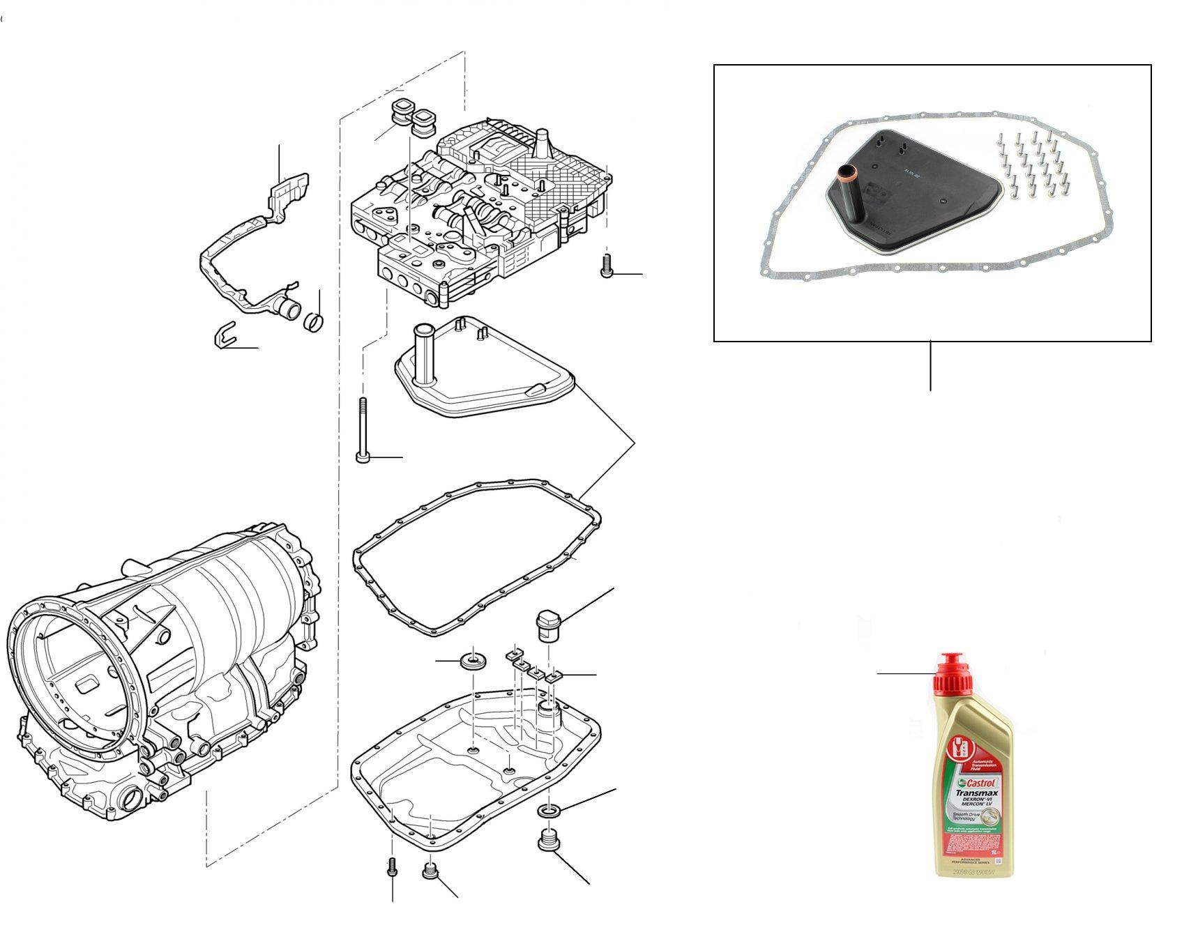 60701 Gearbox filter kit (24 bolt fixing sump) 09E325429-KT24-BR - 2004-2007 (24 bolt fixing oil sump)