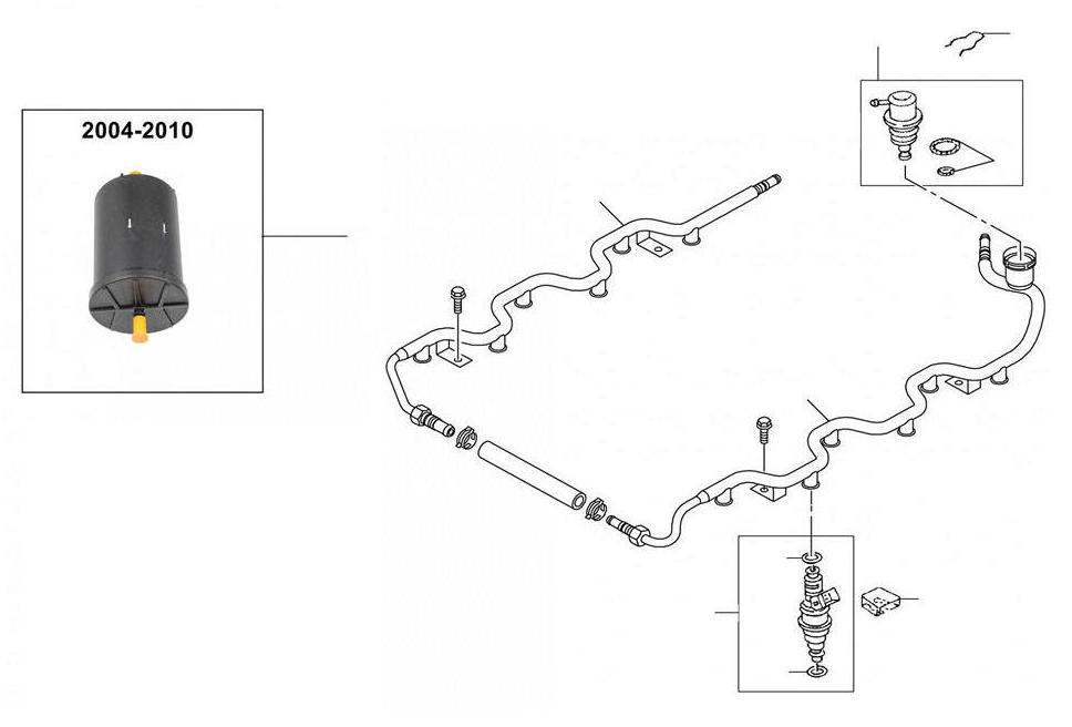 60601 Fuel rail & injectors 07C133316T+WHT005422B - 2004-2011
