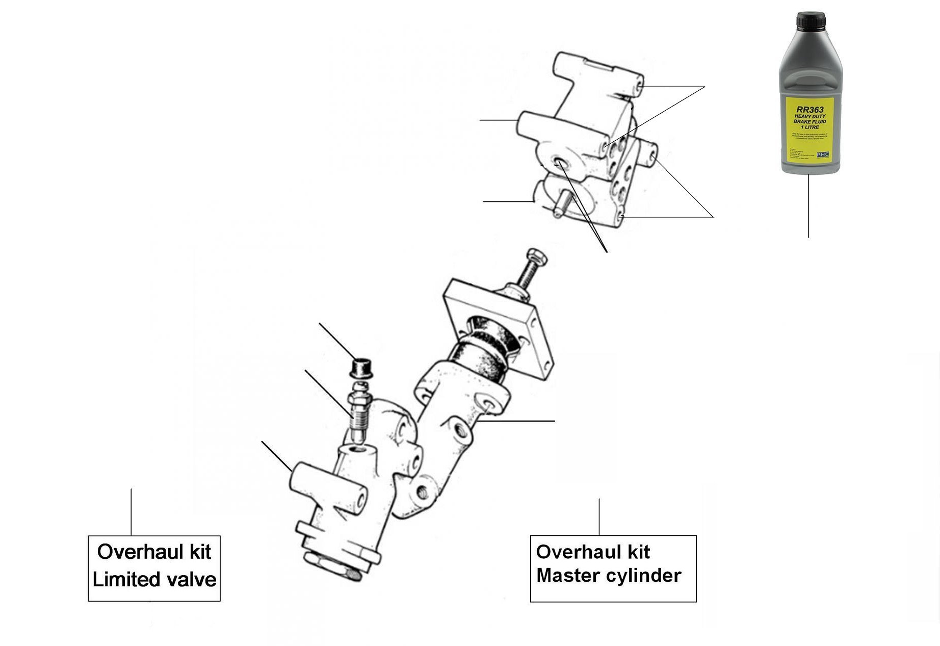 30470 Mastercylinders Distribution valves - VIN 01001 till 27000