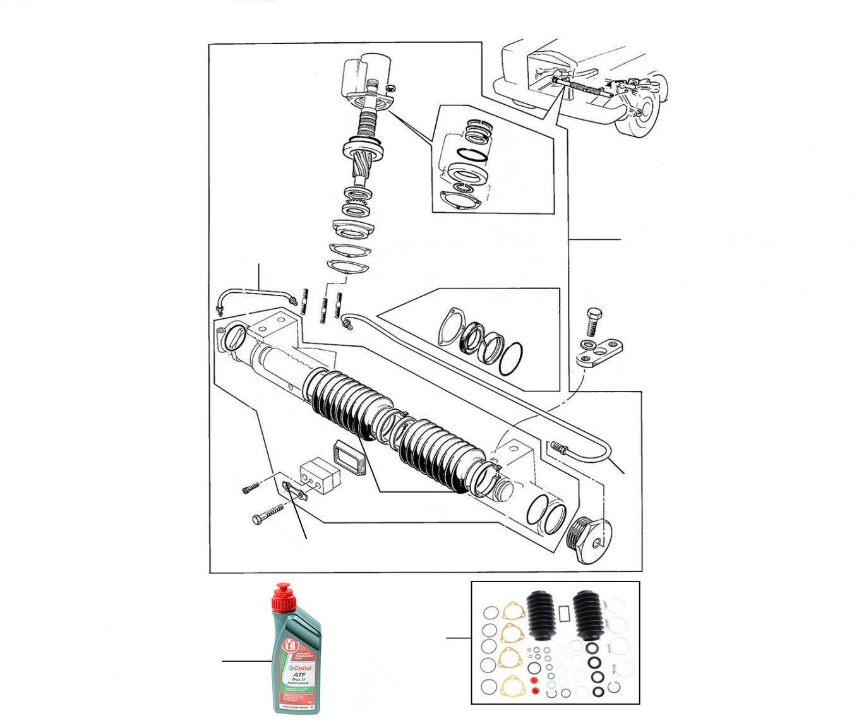 43034 Steering rack  01001 till 24996 (Rectangular Mounting Feet) - VIN 01001 till 24996 (Rectangular Mounting Feet)