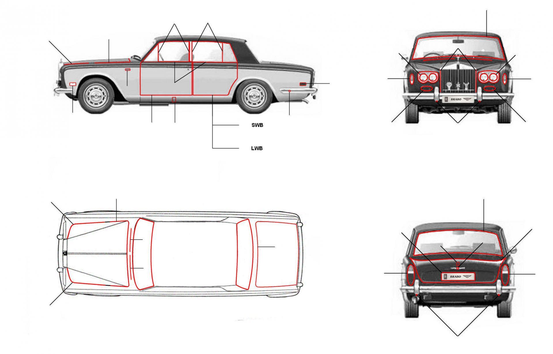 Body seals shadow - 4 Door Cars